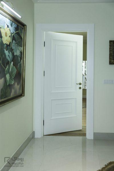 درب سفید پوششی چوبی