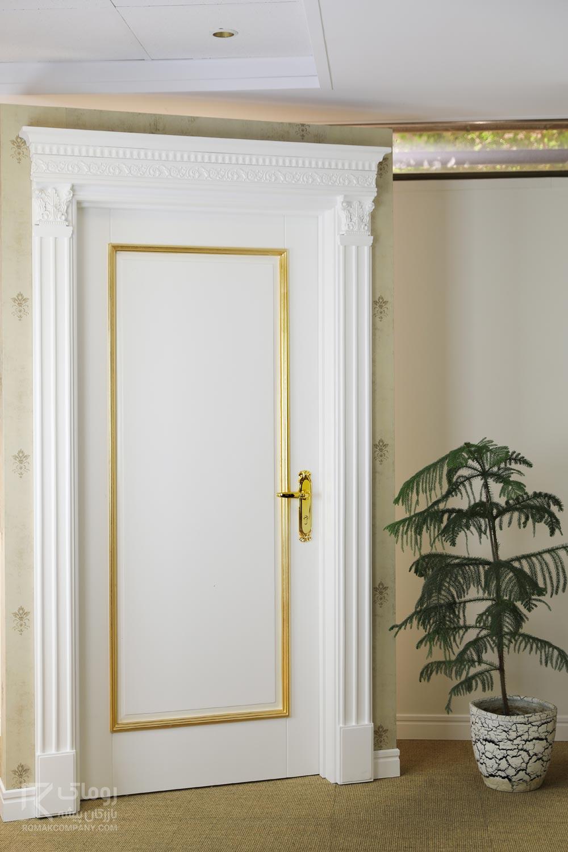 درب سفید روکش طلا